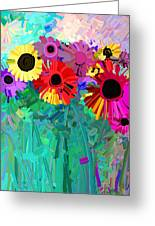 abstract - flowers- Flower Power Four Greeting Card