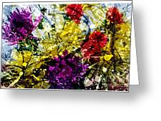 Abstract Flowers Messy Painting Greeting Card
