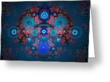 Abstract Fractal Art Blue And Red Greeting Card