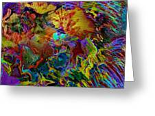 Abstract Fronds In Jewel Tones - Square Greeting Card