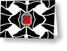 Abstract Geometric Black White Red Art No.381. Greeting Card by Drinka Mercep