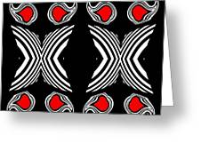 Abstract Geometric Black White Red Op Art No.385. Greeting Card by Drinka Mercep