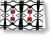 Abstract Geometric Black White Red Pattern Art No.173. Greeting Card