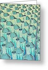 Abstract Green Glass Bottles Greeting Card