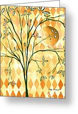 Abstract Harlequin Diamond Pattern Painting Original Landscape Art Moon Tree By Megan Duncanson Greeting Card by Megan Duncanson