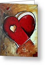 Abstract Heart Original Painting Valentines Day Heart Beat By Madart Greeting Card