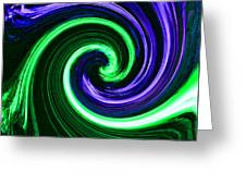 Abstract In Green And Purple Greeting Card