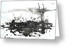 Modern Abstract Black Ink Art Greeting Card
