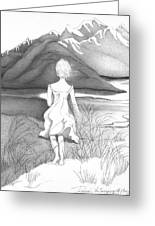 Abstract Landscape Art Black And White Dream The Jumping Off Place By Romi Greeting Card
