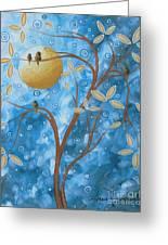 Abstract Landscape Bird Painting Original Art Blue Steel 1 By Megan Duncanson Greeting Card