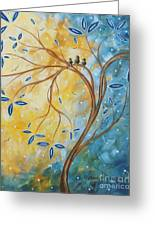 Abstract Landscape Bird Painting Original Art Blue Steel 2 By Megan Duncanson Greeting Card
