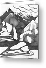 Abstract Landscape Rock Art Black And White By Romi Greeting Card