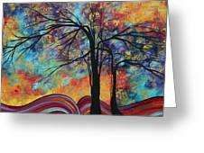 Abstract Landscape Tree Art Colorful Gold Textured Original Painting Colorful Inspiration By Madart Greeting Card