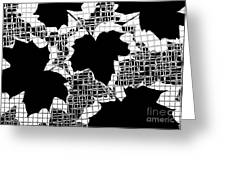 Abstract Leaf Pattern - Black White Grey Greeting Card