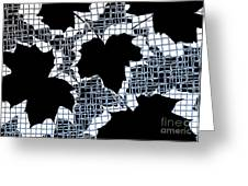 Abstract Leaf Pattern - Black White Light Blue Greeting Card