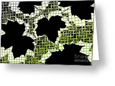 Abstract Leaf Pattern - Black White Lime Green Greeting Card