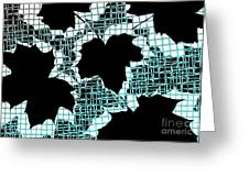 Abstract Leaf Pattern - Black White Turquoise Greeting Card by Natalie Kinnear