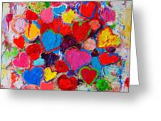 Abstract Love Bouquet Of Colorful Hearts And Flowers Greeting Card