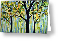 Abstract Modern Tree Landscape Spring Rain By Amy Giacomelli Greeting Card