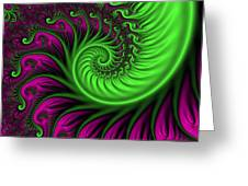 Abstract Neon Colors Fractal Greeting Card