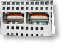 Abstract Of Lifeboats On A Large Cruise Ship Greeting Card