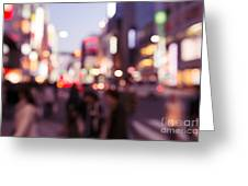 Abstract Out-of-focus City Scenery With Colorful Lights Greeting Card