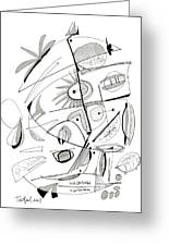 Abstract Pen Drawing Sixty-seven Greeting Card