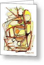 Abstract Pen Drawing Sixty-three Greeting Card