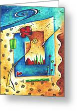 Abstract Pop Art Landscape Floral Original Painting Joyful World By Madart Greeting Card
