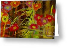 Abstract Poppies Flowers Mixed Media Painting Greeting Card