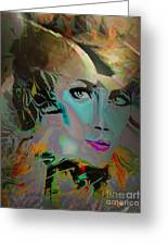 Abstract Portrait Of A Blue Lady Greeting Card by Doris Wood