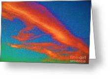 Abstract Red Blue And Green Sky Greeting Card
