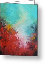 Abstract Red Blue Digital Print Greeting Card