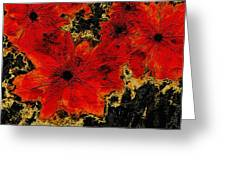 Abstract Red Flower Art  Greeting Card