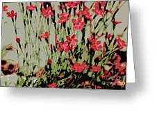 Abstract Red Flowers Greeting Card