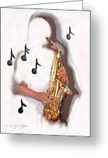 Abstract Saxophone Player Greeting Card