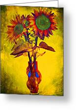 Abstract Sunflowers In Vase Greeting Card