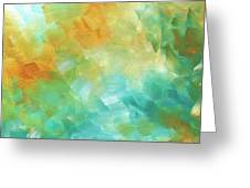Abstract Textured Decorative Art Original Painting Gold And Teal By Madart Greeting Card