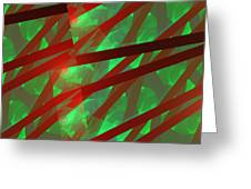 Abstract Tiled Green And Red Fractal Flame Greeting Card by Keith Webber Jr