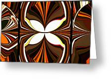 Abstract Triptych - Brown - Orange Greeting Card