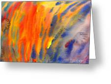 Abstract Watercolor Painting With Fire Flames Greeting Card