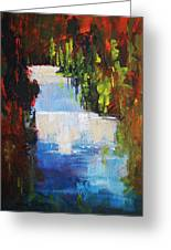 Abstract Waterfall Painting Greeting Card