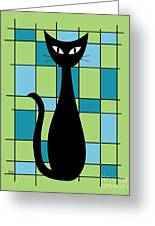 Abstract With Cat In Green Greeting Card