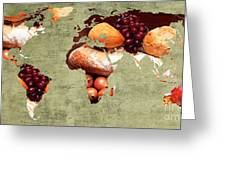 Abstract World Map - Harvest Bounty - Farmers Market Greeting Card