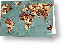 Abstract World Map - Mixed Nuts - Snack - Nut Hut Greeting Card