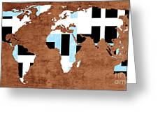 Abstract World Map - Which Way Is Up - Painterly Greeting Card
