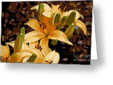 Abstract Yellow Asiatic Lily - 2 Greeting Card
