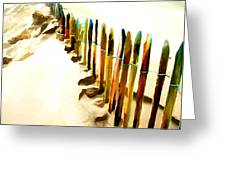 Abstracted March Of The Colored Dune Fence Greeting Card