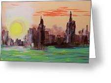 Abstracted Ny Skyline Greeting Card