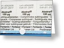 Abstral Painkiller Drug Greeting Card